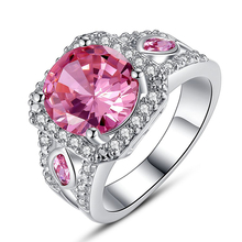 Art Deco Round Cut Pink White Cubic Ziconia Silver Color Ring Size 7 8 9 10 New Fashion Jewelry Wedding Gift For Women  Trendy