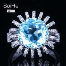 Baihe однотонное 14k белое золото 74 карата небесно голубое