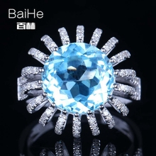 BAIHE Solid 14K White Gold(AU585) 7.4CT Sky Blue Round Flawless 100% Genuine Topaz Wedding Women Trendy Fine Jewelry Ring