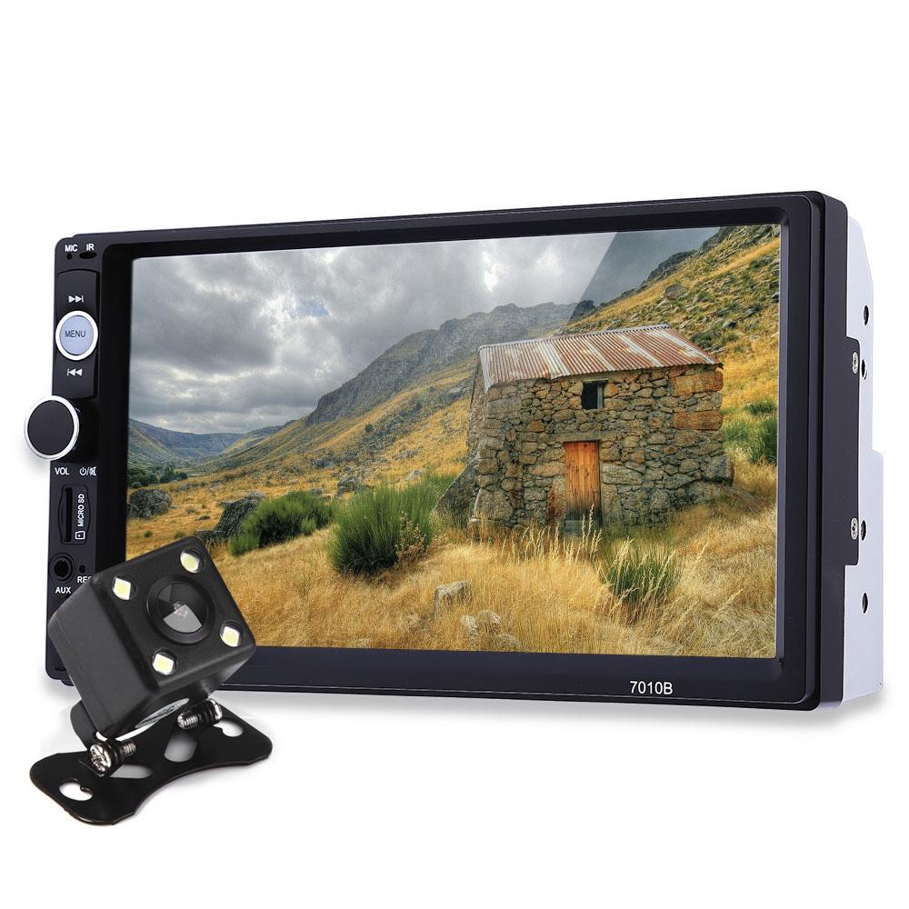 Prix pour 7 Pouce TFT Voiture Audio Stéréo Tactile Écran 2 Din MP5 lecteur avec Caméra De Recul Bluetooth V2.0 Mains Libres Appel AUX TF USB FM