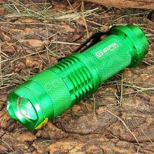 SIPIK Cree 120LM LED White Light Zoom Led Flashlight w Clip Green 1 x AA Battery