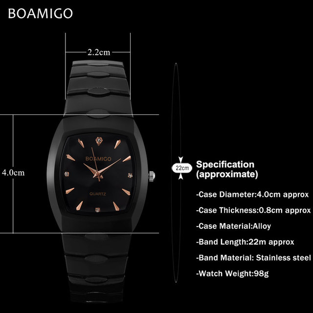 men quartz watch black steel wristwatches casual dress business watches male BOAMIGO luxury brand waterproof Relogio Masculino