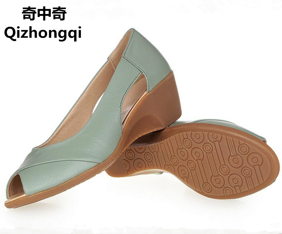 2017summer new genuine leather woman sandals wedge heel of soft bottom fish head with commuter shallow mouth women shoes 2016 summer new leather tendon at the bottom side of the empty fish head crude rainbow low heeled shoes women xtf039