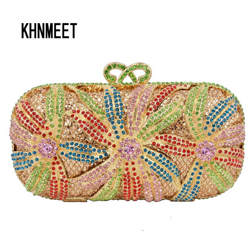 LaiSC evening bag women diamond clutch crystal bag red flower ladies party purse gold wedding accessories Soiree Pochette SC252 yu19 1 crystal evening bag clutch peacock diamond pochette soiree women evening handbag wedding party purse clutch bag