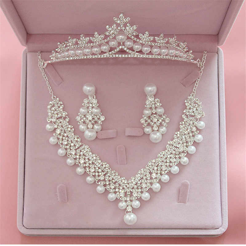 Magnificent Pearl Wedding Bridal Jewelry Sets Women Bride Wedding Party Jewelry Accessories Tiara Crown Earring Necklace