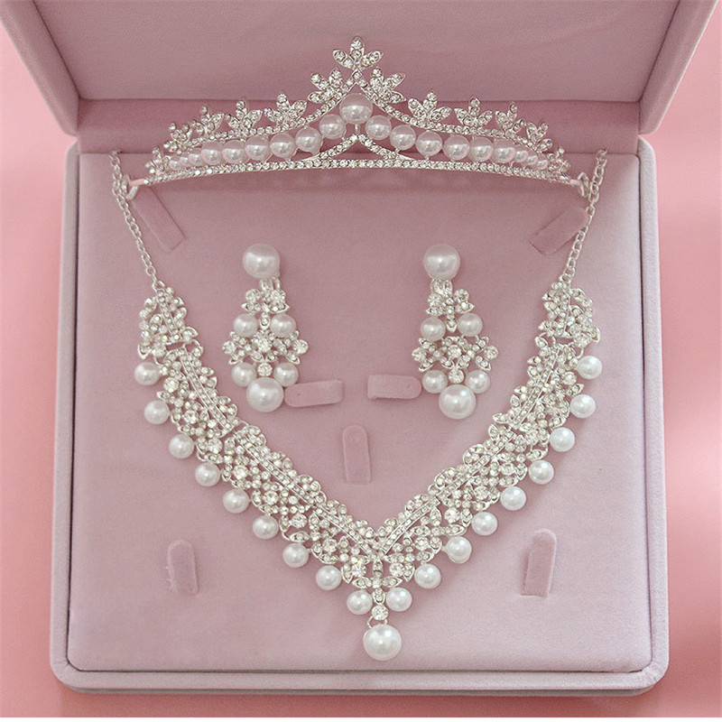Magnificent Pearl Wedding Bridal Jewelry Set Wanita Pengantin Pesta Pernikahan Perhiasan Aksesoris Tiara Crown Earring Kalung