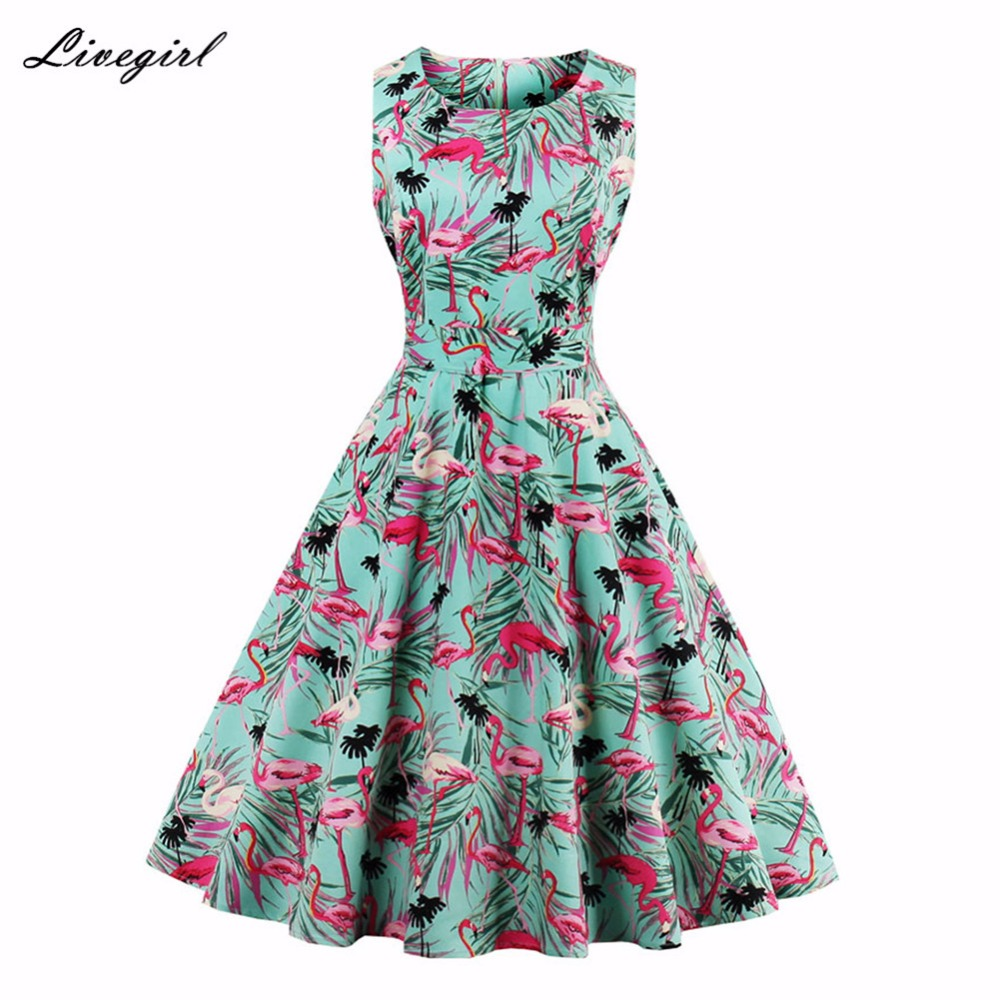frauen vintage flamingo kleid foral print 50 s 60 s rockabilly kleid  hepburn casual party swing kleid vestidos plus größe 4xl