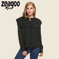 Zeagoo Brand Cute Shirt New Retro Preppy Style Lace Up Tops Casual Loose Elegant Basic Black