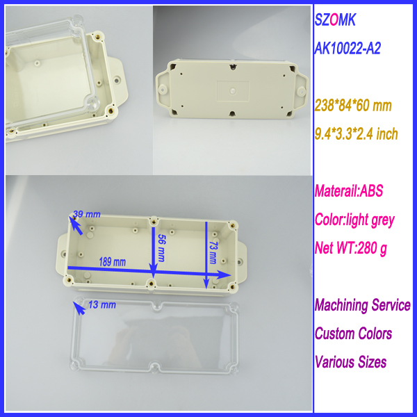 1 piece High Quality ABS Plastic Junction Box IP68 Waterproof Level Circuit Housing led power  supply enclosure 238*84*60 mm  plastic waterproof sealed power protector junction box 190mmx180mmx70mm