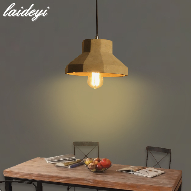 LAIDEYI Nordic Rustic Cement LED Pendant Lights Loft Style Lampe ...