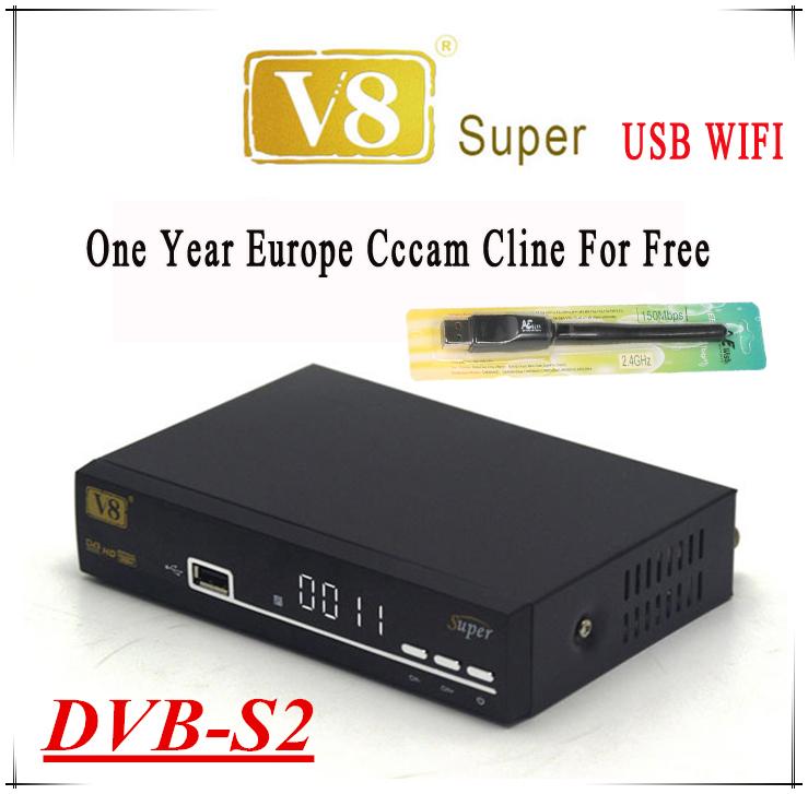 Prix pour V8 Super Satellite Récepteur + 1 Pcs USB WIFI avec 1 année l'europe Cccam cline Livraison soutien 3G Wi-Fi Lan DVB-S2 Youporn Mgcam Newcam