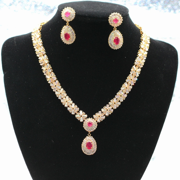 GZJY Fashion Noble jewelry gold color natural red zircon Austrian crystal necklace earrings set for women a suit of noble rhinestone leaf necklace and earrings for women