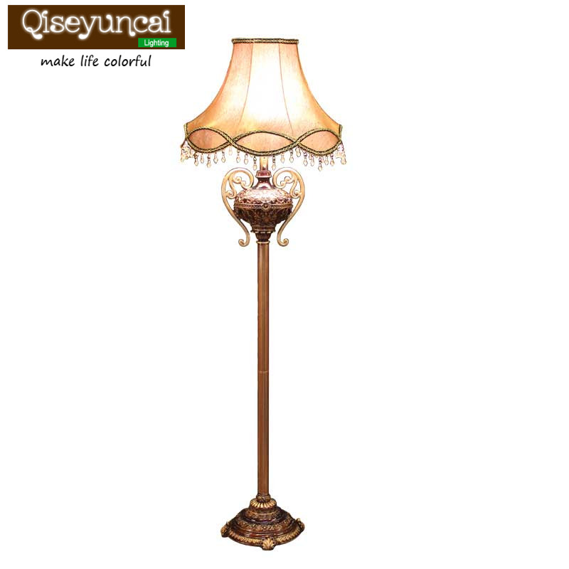 Qiseyuncai European-style living room floor lamp creative retro vertical table lamp rural garden bedroom study bedside lamp french garden vertical floor lamp modern ceramic crystal lamp hotel room bedroom floor lamps dining lamp simple bedside lights