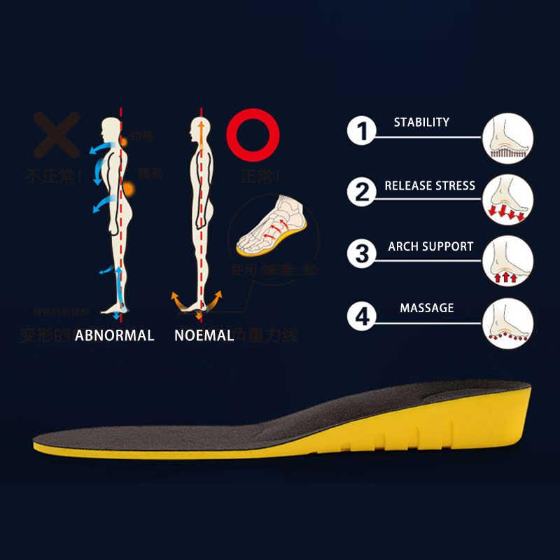 ความสูงเพิ่ม insoles สำหรับผู้ชาย/ผู้หญิง 2/3/5 ซม.up ที่มองไม่เห็น arch สนับสนุน orthopedic insoles shock absorption สีฟ้า/ดำ