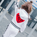 2017 spring new white red love with a sweater + white side of the black striped leisure pants sports suit
