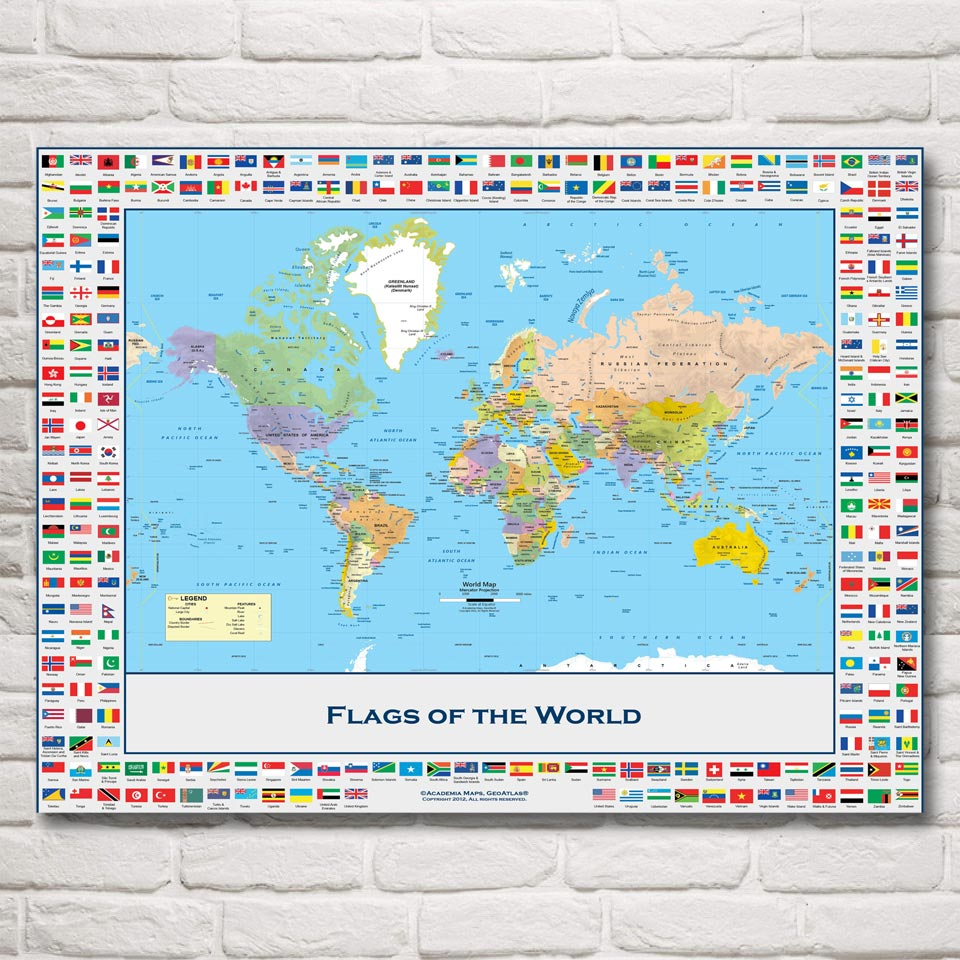 Weltkarte National Geographic Flagge Art Silk Stoff Poster 12x16 ...