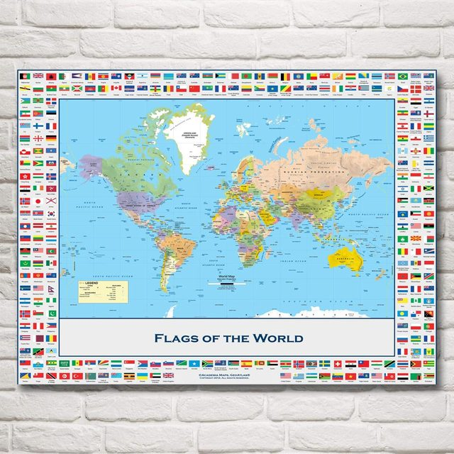 World map national geographic flag art silk fabric poster prints world map national geographic flag art silk fabric poster prints 12x16 18x24 24x32 inches home decor gumiabroncs Choice Image