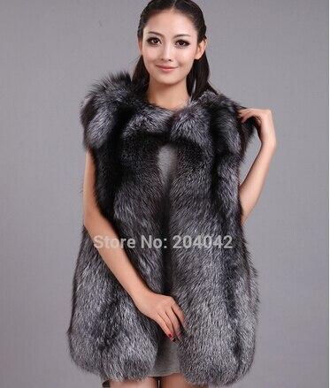 Véritable Fourrure Élégant Fox Longue Réel Gilet 180514 2 Pelt Femmes Renard D'hiver Natura Chaud Silver Pleine Mode De Color Iq0qTt