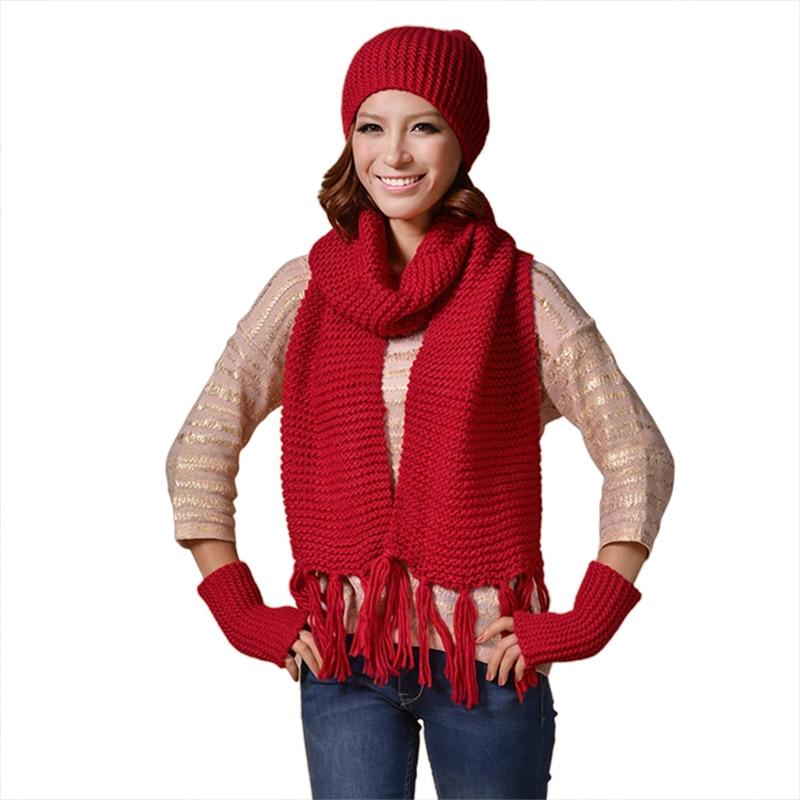 Women Winter Warm Knitted Hat Scarf Glove Set Female Cap Hat Scarf + Warm Hat Female 3 Pcs/Set