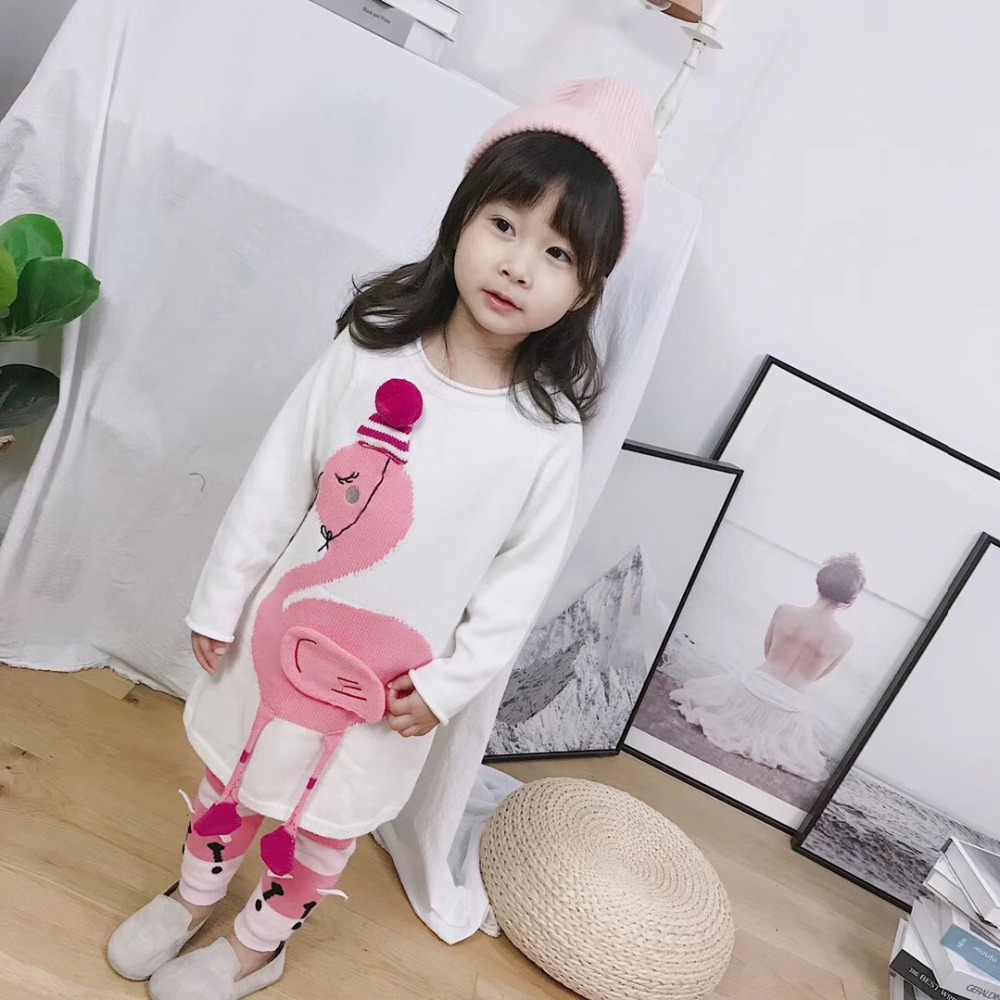 Girls dress cotton long sleeve knitted toddler girls dresses cartoon animal Flamingo autumn winter sweater dress лазерный дальномер makita ld050p