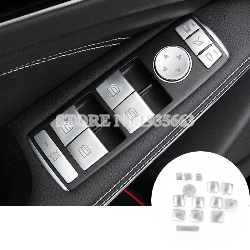 For Benz CLA C117 W117 Inner Door Window Switch Button Cover 2014-2017 14pcs for benz cla c117 w117 inner door window switch button cover 2014 2017 14pcs