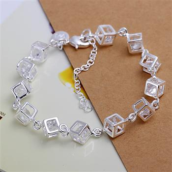 H241 s925 prata cor pulseira, s925 moda jóias prata cor branco pulseira