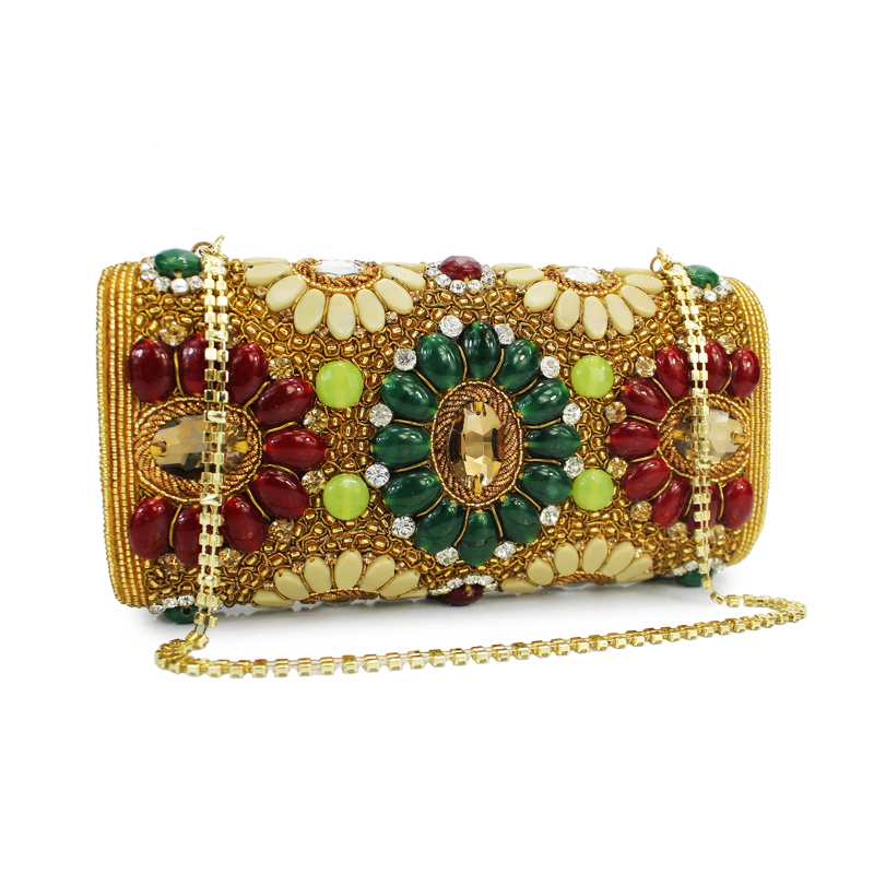 India Style Brand Beaded Crystal Evening Clutch Bag Handcraft Diamante Luxury Wedding bridal banquet Clutch Purse Handbag(C015) india hicks island style