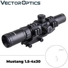 Векторная Оптика Тактический Мустанг 1,5-4x30 стрельба прицел шеврон сетка со смещением ткач крепление кольцо подходит AR15. 223 5,56 мм
