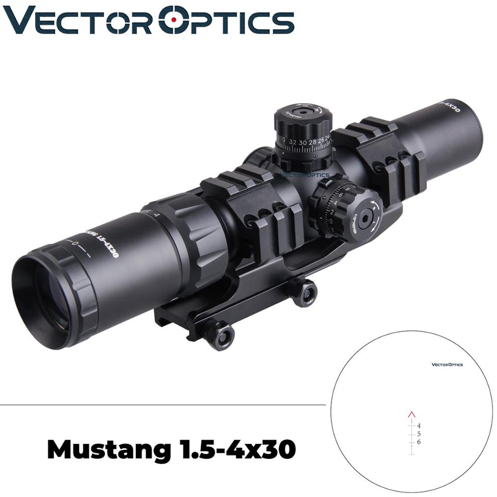 Vector Optics Tactical Mustang 1.5-4x30 Shooting Rifle Scope Chevron Reticle With Offset Weaver Mount Ring Fit AR15 .223 5.56mm