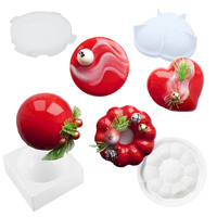 4Pcs/set Half Ball Heart Round Wreath Garland Shaped Silicone Mold DIY Cake Pans Mousse Chocolate Dessert Mould Bakeware Tools