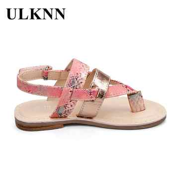 ULKNN Kids Summer Sandals For Girls Flat With Ankle Wrap Girls Beach Sandals Children Shoes sandalia infantil Kids PU Rubber