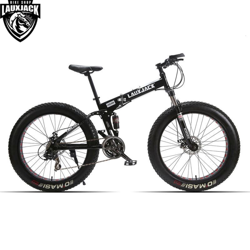 LAUXJACK Mountain Fat Bike Full Suspension Steel Foldable Frame 24 - Cycling - Photo 2