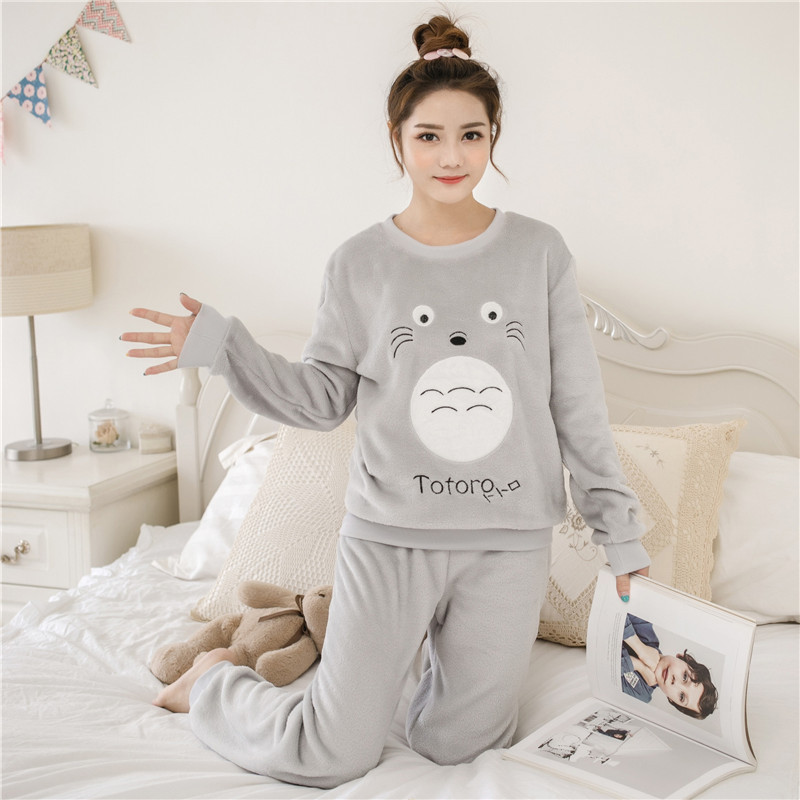 Women   pajamas     set   Sexy Purple   Pajama   Female Flower Print Winter Thick Flannel Warm   Pajama     Set   Long Sleeve Full Trousers Two Piec