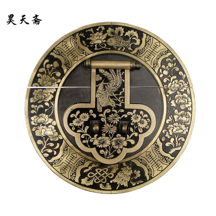 [Haotian vegetarian] Chinese antique copper big Zhangmu Xiang sub box buckle clasp HTN-071 Blossoming 18CM [haotian vegetarian] antique copper box face page box buckle chinese decoration accessories htn 023