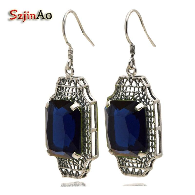 Szjinao Retro Fashion Wedding 925 sterling silver Earrings European luxury Women With Sapphire Long Earrings цены онлайн