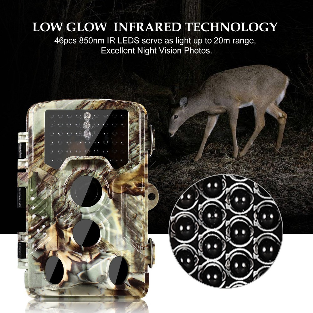 Photo Traps 16MP Digital Trail Camera Hunting Camera HD 1080P With 46pcs Infrared IR LEDS Scouting Wildlife Camera Traps 12mp trail camera gsm mms gprs sms scouting infrared wildlife hunting camera hd digital infrared hunting camera