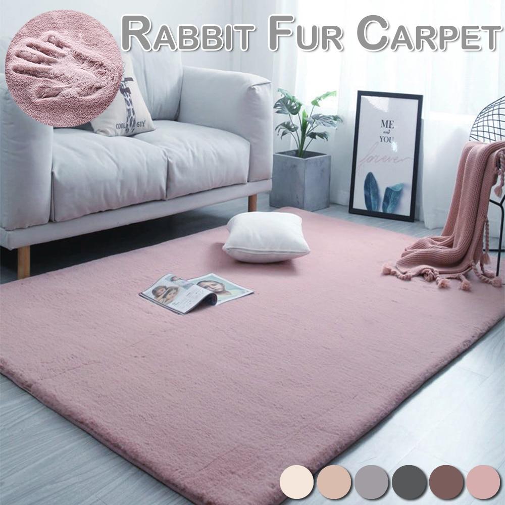 Home Furnishing Modern Artificial Rabbit Fur Square Carpet Living Room Coffee Table Blanket Bedroom Short Plush Mat D30