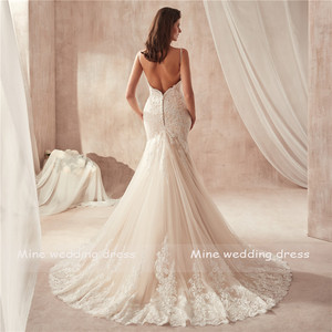 Image 4 - Real Photos Sweetheart Spaghetti Straps Champagne Mermaid Wedding Dress 2020 Lace Appliques Tulle Bridal Gowns Vestido De Noiva