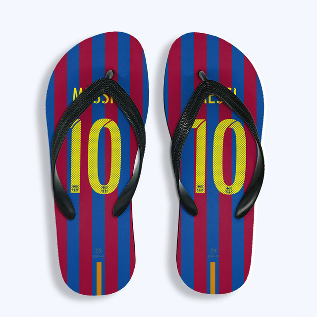 fbb58eb46 Travel Vocation Swimming Flip Flops Barcelona Any Name Football Slipper  Sports Soccer Fans Gift Beach Shoes