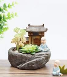1 шт. Буддизм храма монах смолы горшок суккулентов Плантатор цветочный горшок Главная украшение сада бонсай фэншуй