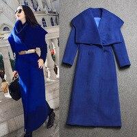 Kadın Mavi Yün Palto Kış Uzun ceket 2016 Marka Yeni Tasarım Büyük Yaka Yaka Sıcak x-Uzun Kaşmir mont