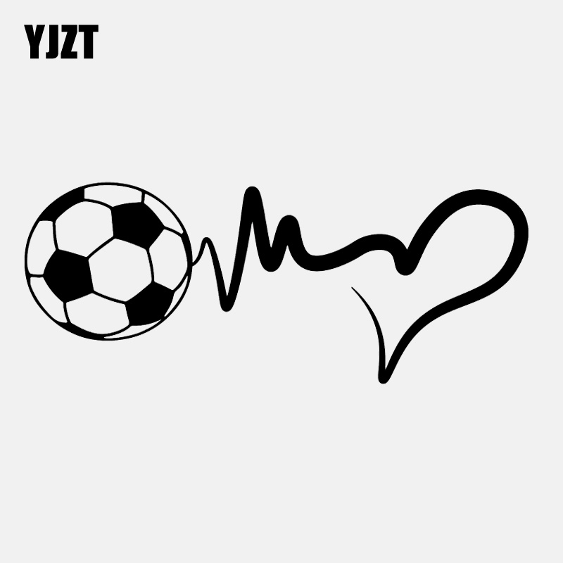 YJZT 16.4CM*6.6CM Fashion Sports Soccer Ball Heartbeat Vinyl Motorcycle Car Sticker C22-1268