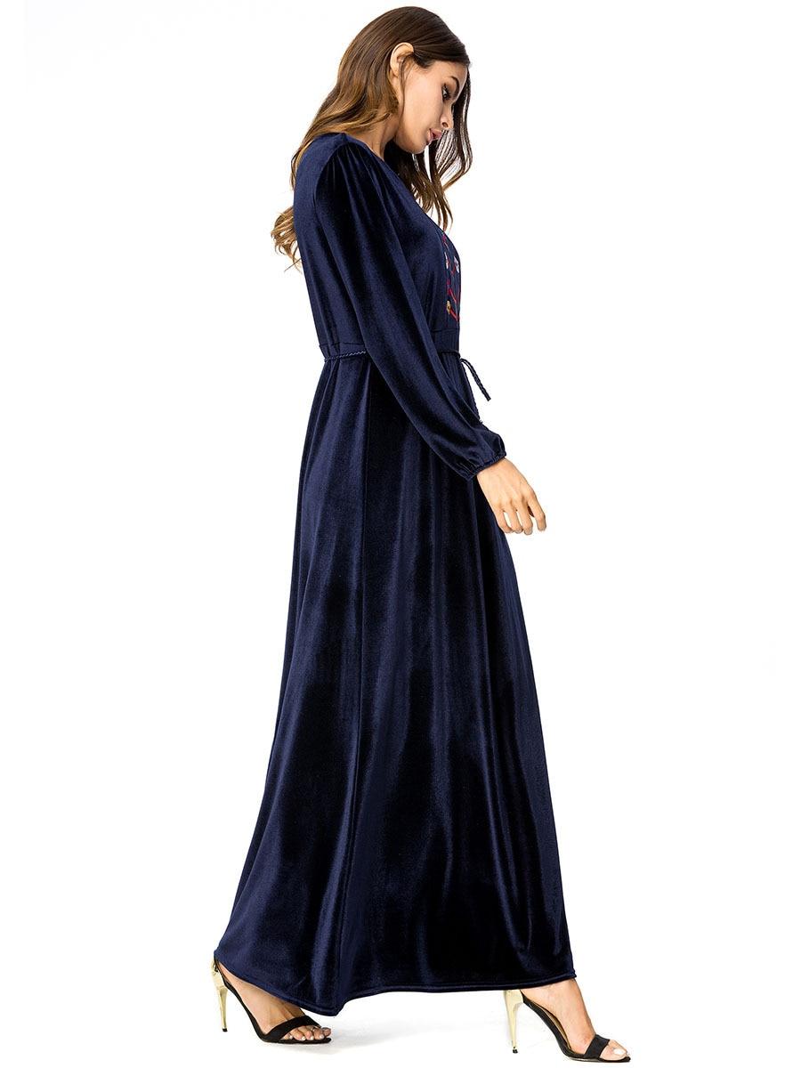 Automne Longue Ethnique Style Robes De Robe Brodé Femmes Bleu Simple 7239 Musulmane Cachemire BordWEQeCx