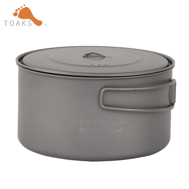 TOAKS Outdoor Camping 3in1 Titanium Pot 1350ml Ultralight Portable Titanium Bowl Titanium Cup POT-1350