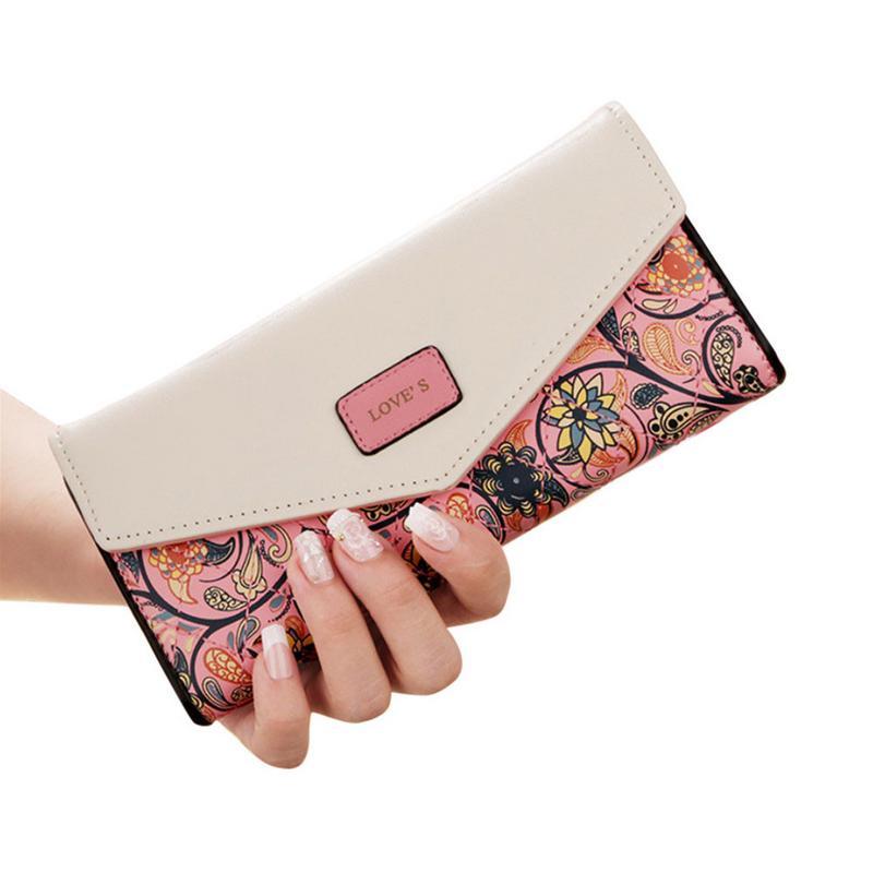 39cee2135fa04 Koreański styl małe portfele kwiatowy rombowy kontrast kolor koperta klamra  do przechowywania pieniędzy kobiety torebka Lady