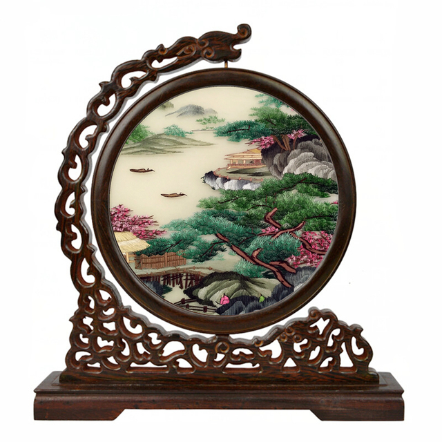Chinese Silk Double Embroidery Paintings Decoration Ornaments Full Handmade Vintage Decor Home Crafts Gift Wenge Frame