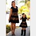 Family Matching Mother Daughter Dress Girls Leopard Clothes Kids And Parents Summer Dress