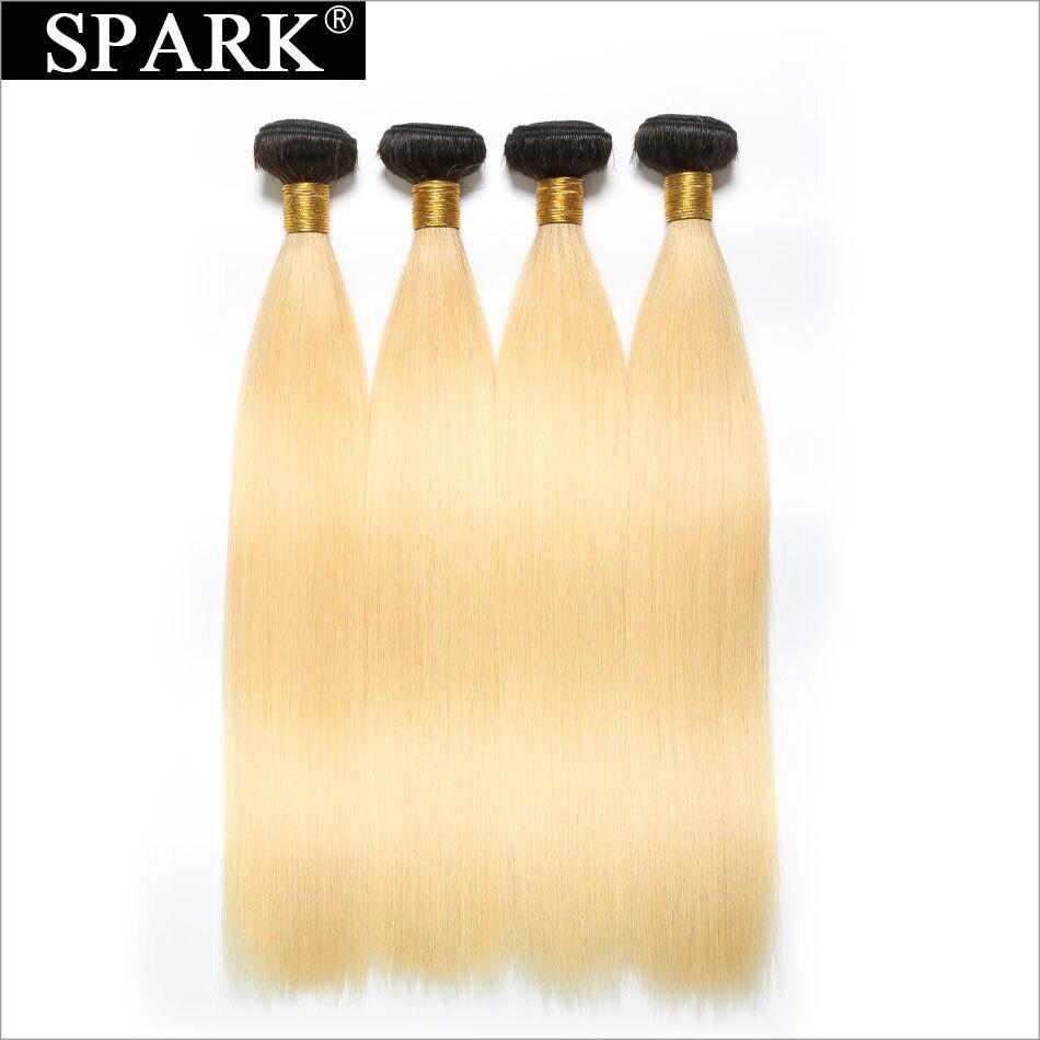 Spark натуральная волос Ombre перуанский волосы прямые человеческих волос Связки 1B/613 Ombre блондинка Пряди человеческих волос для наращивания 12-26 ...