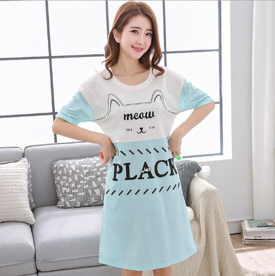 e11afbe40d Detail Feedback Questions about 100% Cotton Summer Fashion Short Sleeve  Women s O neck Nightgowns Plus Size female Home sleep clothing ladies sleep  clothes ...
