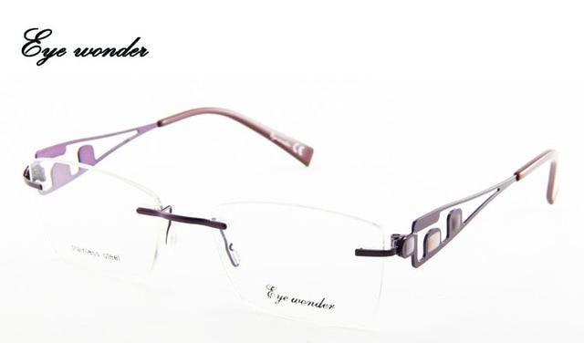 458c8c9659f Eye wonder Men Rimless Stainless Steel Glasses Women Metal Lightweight  Eyewear Glasses Frames for Myopia Prescription